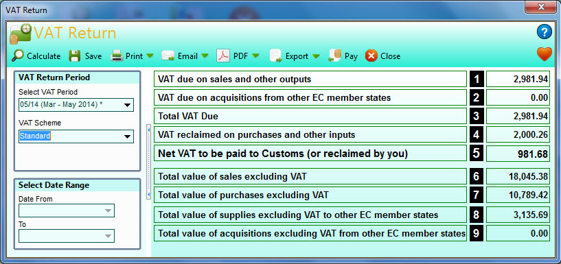To Quickly Calculate Your VAT Return You First All Of Select The Period Want In Panel On Left And Then Click