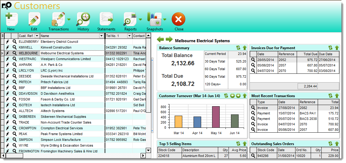 Desktop accounting software - Customer section