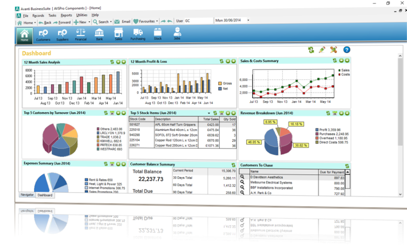 Complete business management software with stock control, invoicing, accounting & CRM